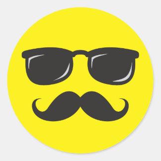 Incognito smily face with mustache and sunglasses classic round sticker