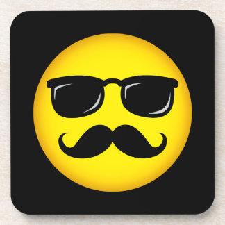 Incognito yellow mustache smiley coaster