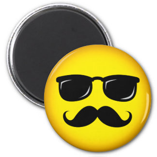 Incognito yellow mustache smiley magnet