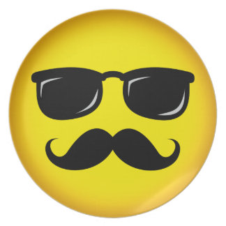 Incognito yellow mustache smiley plate