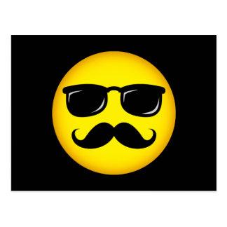 Incognito yellow mustache smiley postcard