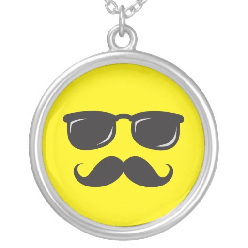Incognito yellow smiley necklace with mustache
