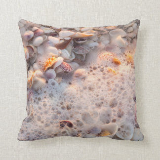 Incoming Surf And Seashells On Sanibel Island Throw Pillow