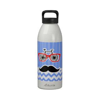 Inconformista azul divertido de Chevron Botella De Agua