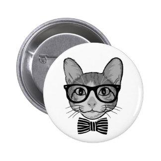 Inconformista blanco negro del gato con la pin