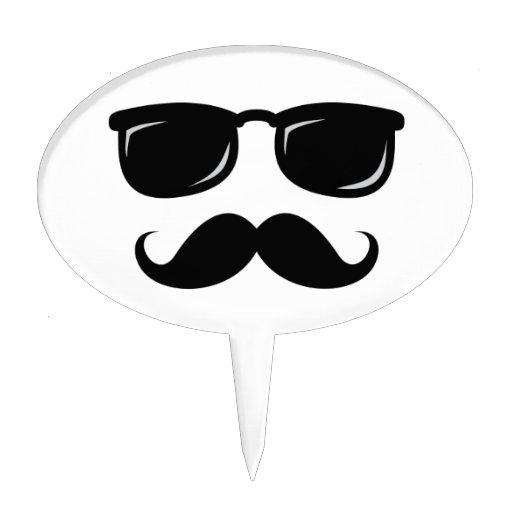 Inconformista de moda del bigote sonriente incógni figuras de tarta