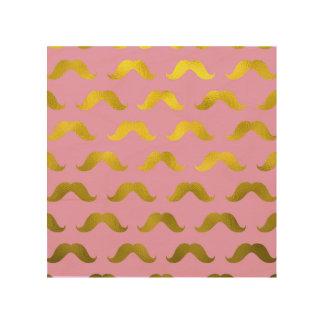 Inconformista, lindo, bigote, oro, rosa, modelo, cuadro de madera