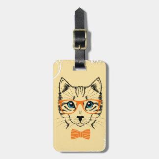 Inconformista lindo fresco del gato etiqueta para maleta