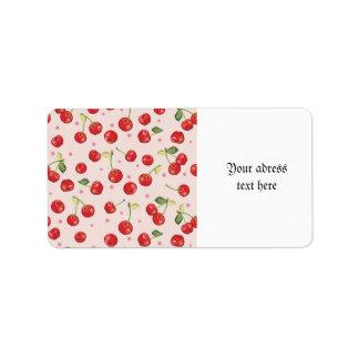 Inconformista, retro, cereza, modelo, rojo, rosa, etiqueta de dirección