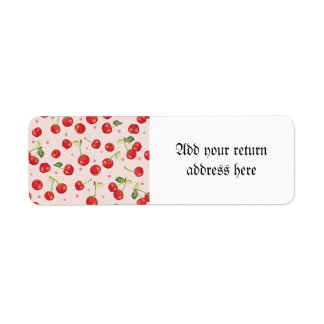 Inconformista, retro, cereza, modelo, rojo, rosa, etiqueta de remite