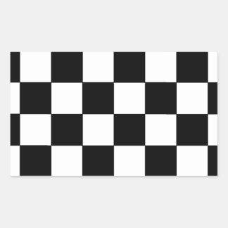 Inconformista retro del tablero de damas blanco y pegatina rectangular