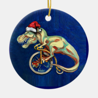 Inconformista T-Rex para Navidad Adorno Navideño Redondo De Cerámica