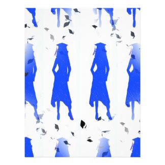 inconsútil azul de los chicas tejado plantilla de membrete
