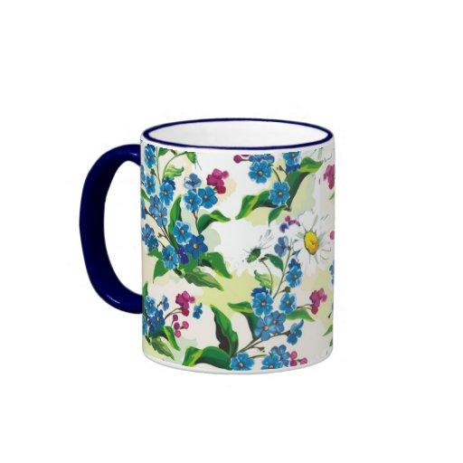 Inconsútil floral brillante elegante taza de dos colores