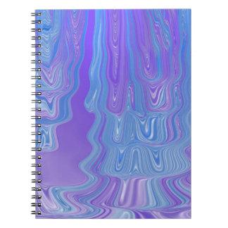 Incorpore el arte abstracto del flujo a púrpura y libretas