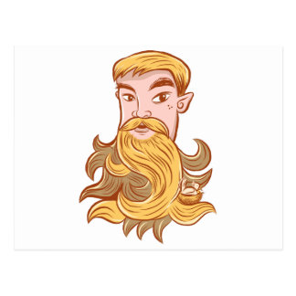 Incredible beard postcard