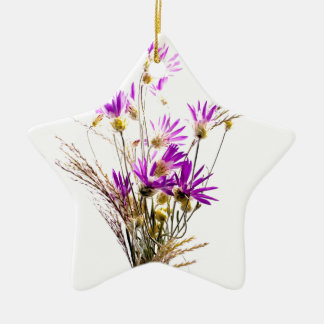 Incredible Purple Flower Bouquet Simple Design Ceramic Ornament