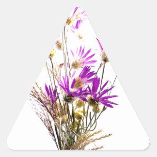 Incredible Purple Flower Bouquet Simple Design Triangle Sticker