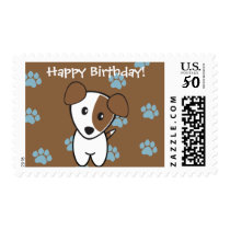 Incredibly Cute Brown and Blue Terrier Birthday Postage
