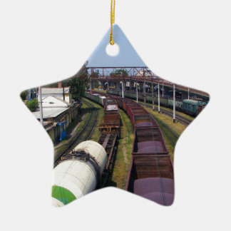 Incredibly Long Cargo Train Ceramic Ornament