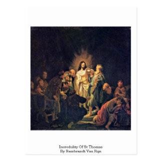 Incredulidad de St Thomas de Rembrandt Van Rijn Tarjeta Postal
