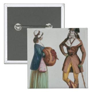 `Incroyable et Merveilleuse', c.1775 2 Inch Square Button