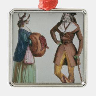 `Incroyable et Merveilleuse', c.1775 Square Metal Christmas Ornament