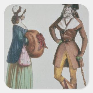 """""""Incroyable y Merveilleuse"""", c.1775 Pegatina Cuadrada"""