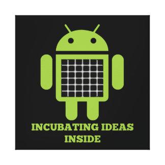 Incubating Ideas Inside (Bug Droid Grid Illusion) Canvas Print