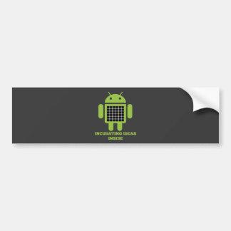 Incubating Ideas Inside (Bug Droid Grid Illusion) Car Bumper Sticker