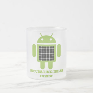 Incubating Ideas Inside (Bug Droid Grid Illusion) Frosted Glass Coffee Mug