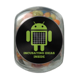 Incubating Ideas Inside (Bug Droid Grid Illusion) Glass Candy Jars