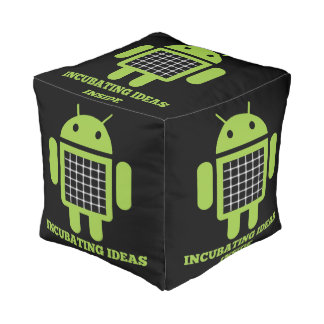 Incubating Ideas Inside (Bug Droid Grid Illusion) Cube Pouf