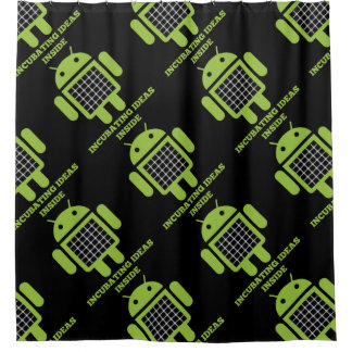 Incubating Ideas Inside Bug Droid Grid Illusion Shower Curtain
