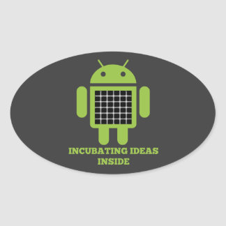 Incubating Ideas Inside (Bug Droid Grid Illusion) Oval Sticker