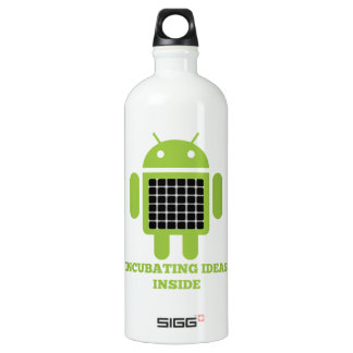 Incubating Ideas Inside (Bug Droid Grid Illusion) Water Bottle