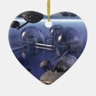 Incursión de la madrugada adorno de cerámica en forma de corazón