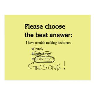 Indecisive Multiple Choice Questions Postcard