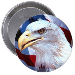 Independance Day Eagle & Flag Pinback Buttons