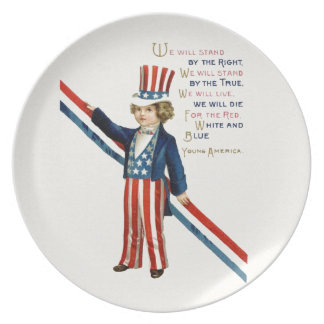 Independence Day 4th July patriotic boy vintage Plates