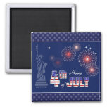 Independence Day, 4th of July 2 Inch Square Magnet