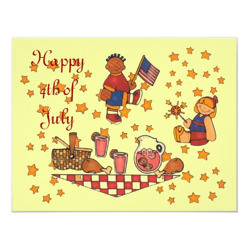 Independence Day 4th of July Picnic Party Invitati Invitations