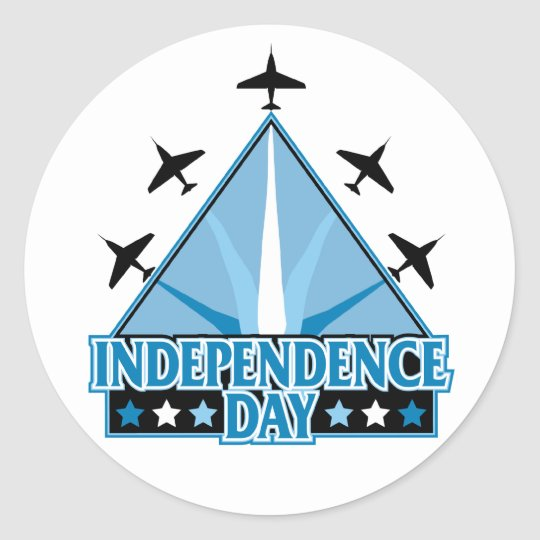 Independence Day Airshow Classic Round Sticker