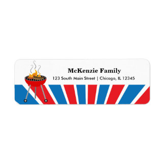 Independence day BBQ party Return Address Label
