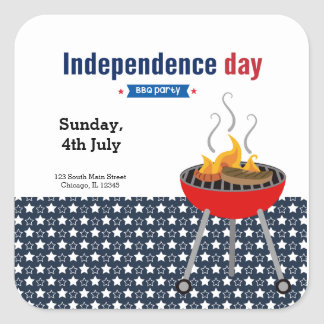 Independence day BBQ party Square Sticker
