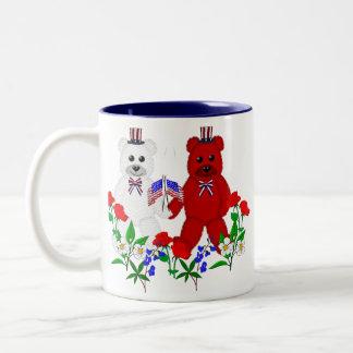 Independence Day Bears Two-Tone Coffee Mug