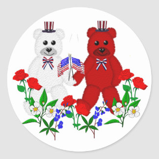 Independence Day Bears Classic Round Sticker