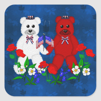 Independence Day Bears Square Sticker