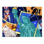 Independence Day Collage Art Postcard