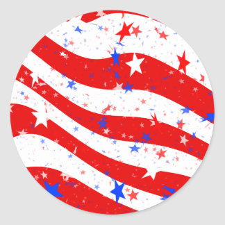 Independence Day Curved Stars and Stripes Classic Round Sticker